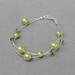 Lime Green Floating Pearl Bracelet