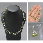 Lime Green Floating Pearl Jewellery Set