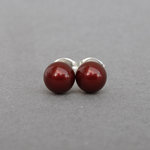 6mm Bordeaux Swarovski Pearl Studs - Small, Round Burgundy Stud Earrings